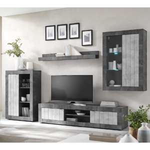 Nitro LED Wooden Living Room Set In Oxide And Cement Effect