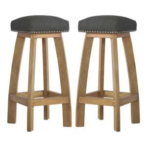 Noah Wooden Bar Stool In Oak Ish With Black Fabric Seat In Pair