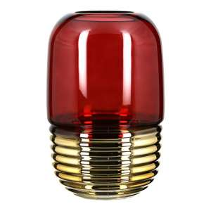 Noble Glass Decorative Vase In Burgundy And Gold