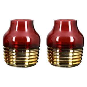 Noble Glass Set Of 2 Large Decorative Vase In Burgundy And Gold