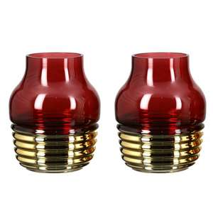 Noble Glass Set Of 2 Small Decorative Vase In Burgundy And Gold