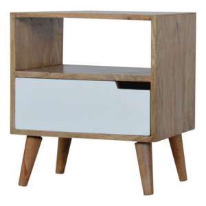 Nobly Wooden Bedside Cabinet In White And Oak Ish With Open Slot
