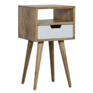 Nobly Wooden Bedside Cabinet In White And Oak Ish