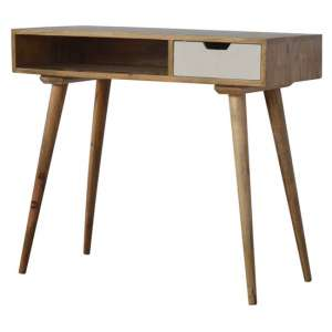 Nobly Wooden Study Desk In White And Oak Ish
