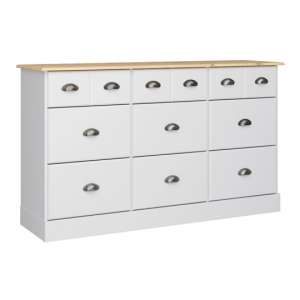 Nola Wide Chest Of Drawers In White And Pine With 9 Drawers