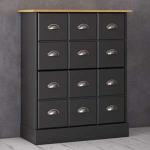Nola Wooden Shoe Storage Cabinet In Black And Pine