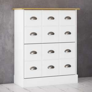 Nola Wooden Shoe Storage Cabinet In White And Pine