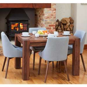 Norden Dining Table In Walnut With 4 Grey Harrow Chairs