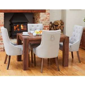 Norden Dining Table In Walnut With 4 Grey Harry Chairs