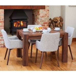Norden Dining Table In Walnut With 4 Light Grey Harrow Chairs