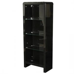 Norset Contemporary Boockase In Black Gloss With 3 Glass Shelf