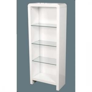 Norset Contemporary Boockase In White Gloss With 3 Glass Shelf