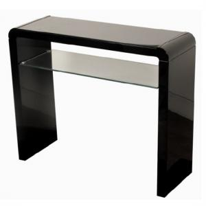 Norset Medium Console Table In Black Gloss With 1 Glass Shelf