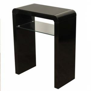 Norset Small Console Table In Black Gloss With 1 Glass Shelf