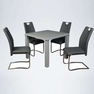 Norset Dining Set In Grey With Four Clare Grey Dining Chairs