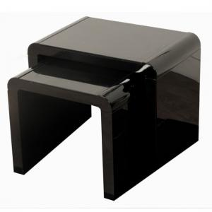 Norset Modern Set of 2 Nesting Tables In Black Gloss
