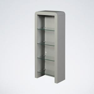 Norset CD DVD Storage Unit In Grey Gloss With 4 Glass Shelf