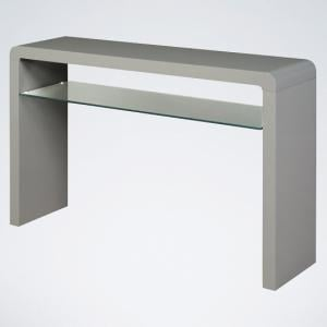 Norset Large Console Table In Grey Gloss With 1 Glass Shelf