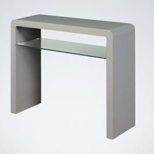 Norset Medium Console Table In Grey Gloss With 1 Glass Shelf