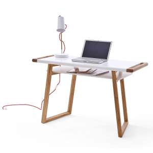 Nortis Computer Desk Rectangular In White And Oak With A Shelf