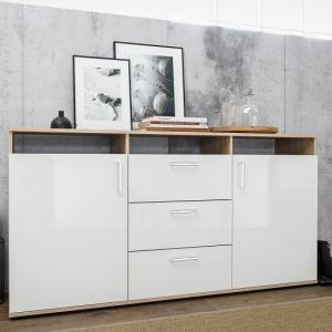 Norway Sideboard In Sonoma Oak With White High Gloss Fronts