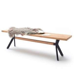 Norwich Wooden Dining Bench Rectangular In Wild Oak