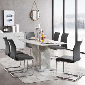 Nouvaro Marble Top Dining Table In Grey Paper With 6 Chairs