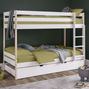 Nova Wooden Bunk Bed With Guest Bed In White Lacquer