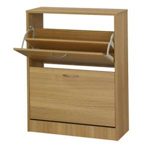 Nova Wooden Shoe Storage Cabinet In Oak With 2 Doors