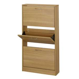 Nova Wooden Shoe Storage Cabinet In Oak With 3 Doors