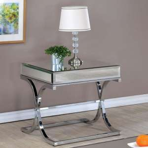 Nove Mirrored Wooden Side Table With Silver Stainless Steel Legs