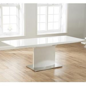Novello Extendable Pedestal Dining Table In White High Gloss