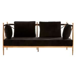 Kurhah 2 Seater Sofa In Black With Rose Gold Lattice Arms