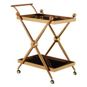 Kurhah 2 Tier Cross Design Bar Trolley In Rose Gold