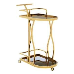 Kurhah 2 Tier Wavy Design Bar Trolley In Gold