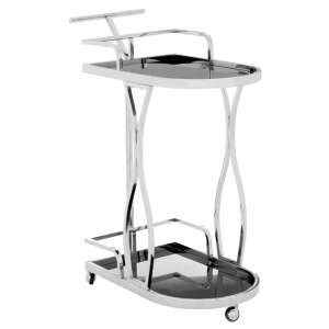 Kurhah 2 Tier Wavy Design Bar Trolley In Silver