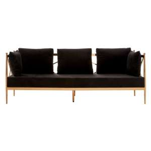 Novo 3 Seater Sofa In Black With Rose Gold Lattice Arms