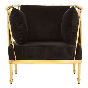 Kurhah Bedroom Chair In Black With Gold Finish Tapered Arms