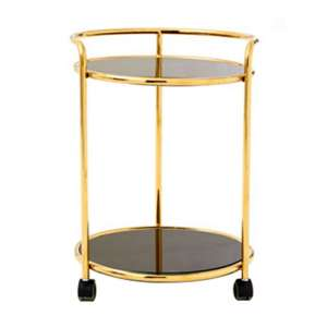 Kurhah Round Bar Trolley In Gold