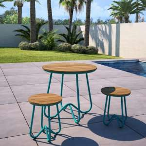 Novogratz Bobbi Bistro Set In Turquoise With 2 Stools
