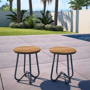 Novogratz Bobbi Set Of 2 Bistro Stools In Charcoal Grey