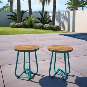 Novogratz Bobbi Set Of 2 Bistro Stools In Turquoise