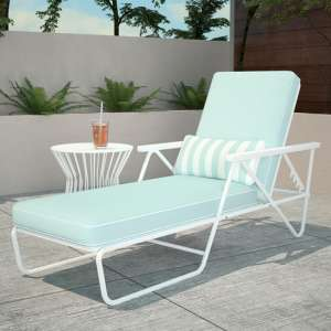 Novogratz Connie Sun Chaise Lounger In White With Aqua Cushion