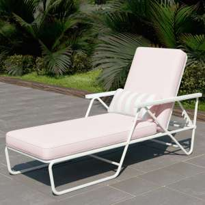 Novogratz Connie Sun Chaise Lounger In White With Pink Cushion