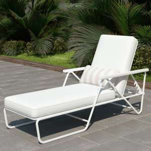 Novogratz Connie Sun Chaise Lounger In White With White Cushion