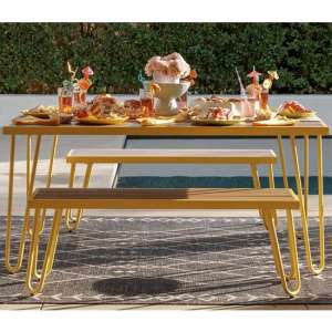 Novogratz Paulette Dining Set With 2 Bench In Yellow