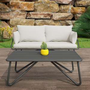 Novogratz Teddi 2 Seaters Sofa And Coffee Table In Charcoal Grey