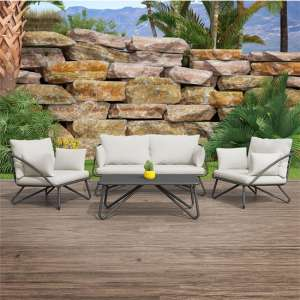 Novogratz Teddi Poolside Metal Seating Set In Charcoal Grey