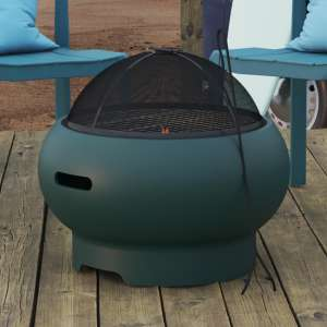 Novogratz Wood Burning Fire Pit With Grilling In Dark Green