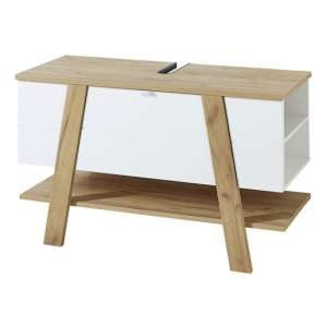 Novolino Basin Vanity Unit In White And Navarra Oak